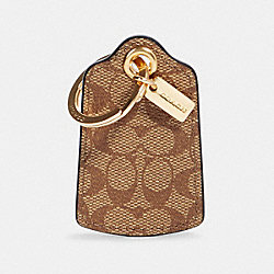 LUGGAGE TAG KEY RING IN SIGNATURE CANVAS - IM/KHAKI - COACH 90018