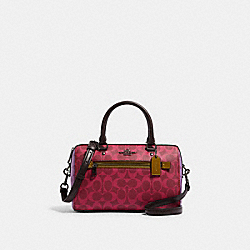 ROWAN SATCHEL IN BLOCKED SIGNATURE CANVAS - QB/MAGENTA MULTI - COACH 90396