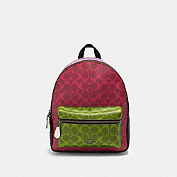 MEDIUM CHARLIE BACKPACK IN BLOCKED SIGNATURE CANVAS - QB/MAGENTA MULTI - COACH 90397