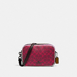 JES CROSSBODY IN BLOCKED SIGNATURE CANVAS - QB/MAGENTA MULTI - COACH 90398