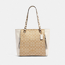 MARLON TOTE IN SIGNATURE CANVAS WITH SNAKE-EMBOSSED LEATHER DETAIL - IM/LIGHT KHAKI MULTI - COACH 90434