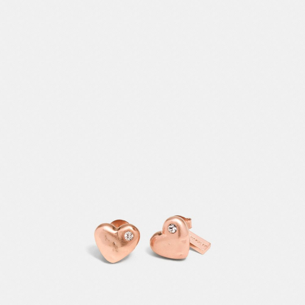 Coach Pave Sculpted Hearts Stud Earrings
