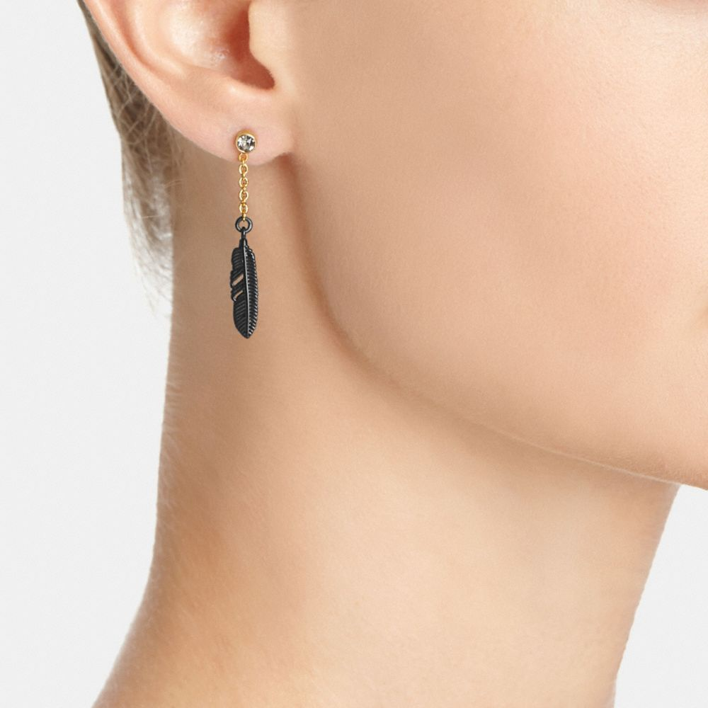 Pave Metal Feather Drop Earrings - Alternate View A1