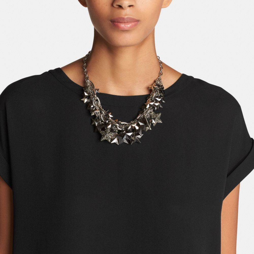 Pave Clustered Metal Stars Necklace - Alternate View A1