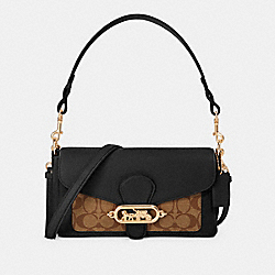 SMALL JADE SHOULDER BAG WITH SIGNATURE CANVAS DETAIL - IM/KHAKI/BLACK - COACH 90782