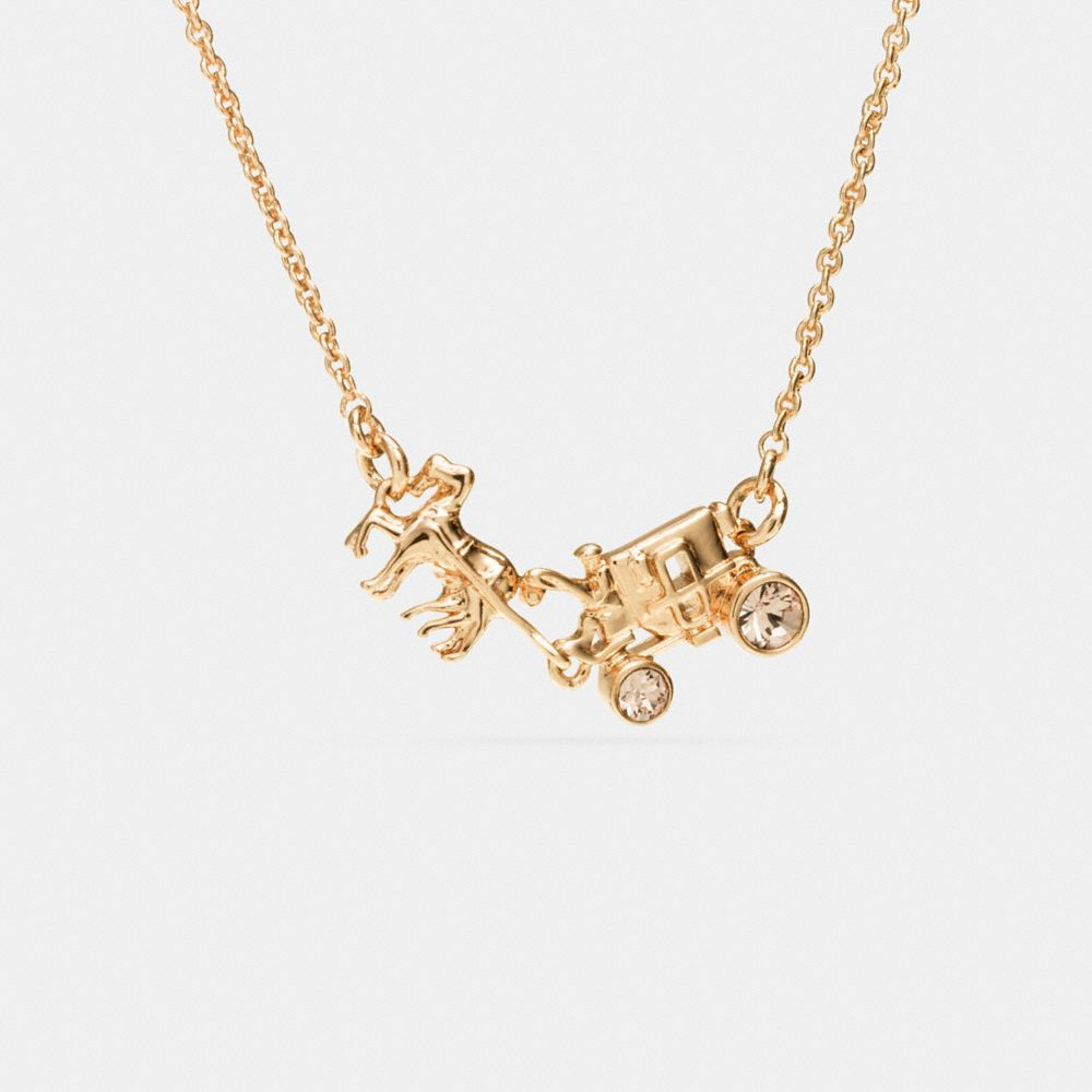 PAVE HORSE AND CARRIAGE NECKLACE