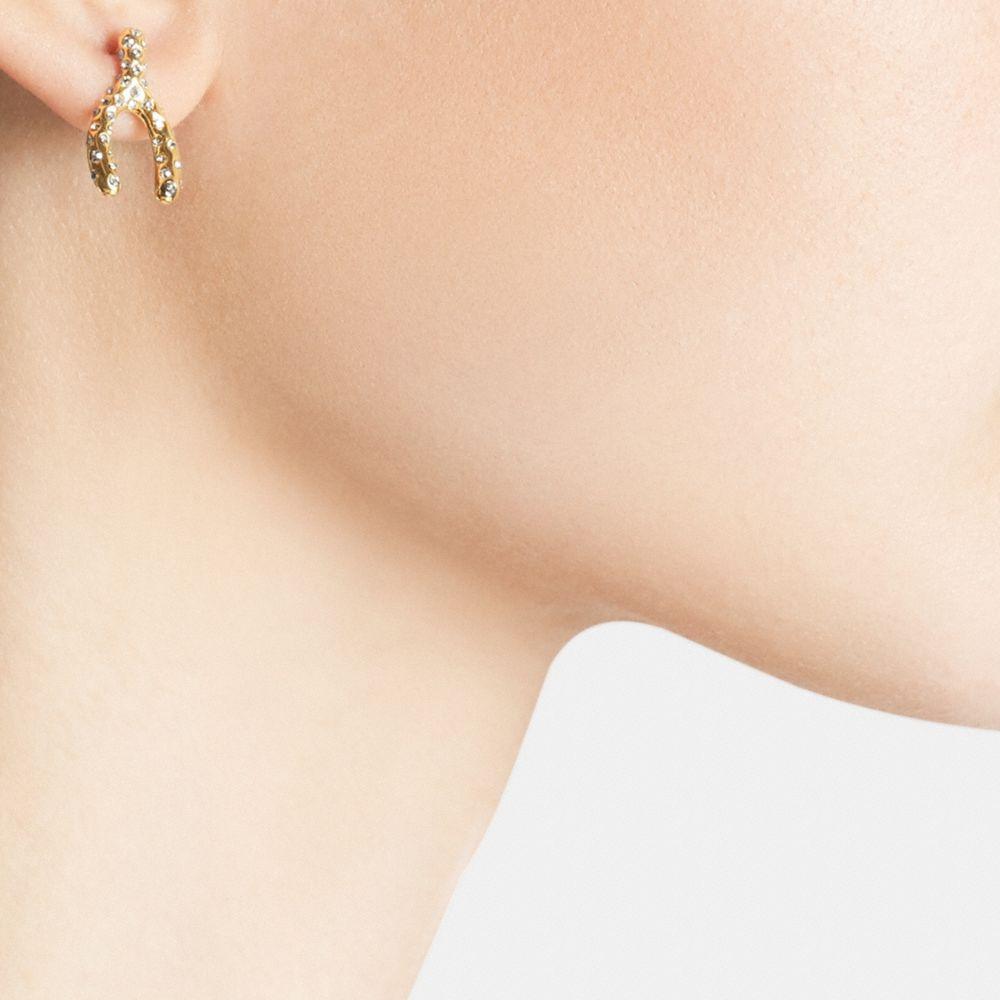Pave Wishbone Stud Earrings - Alternate View A1