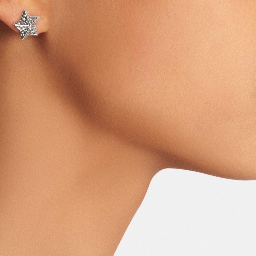 Pave Metal Star Stud Earrings - Alternate View A1