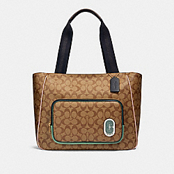 COURT TOTE IN SIGNATURE NYLON - IM/KHAKI MULTI - COACH 90873