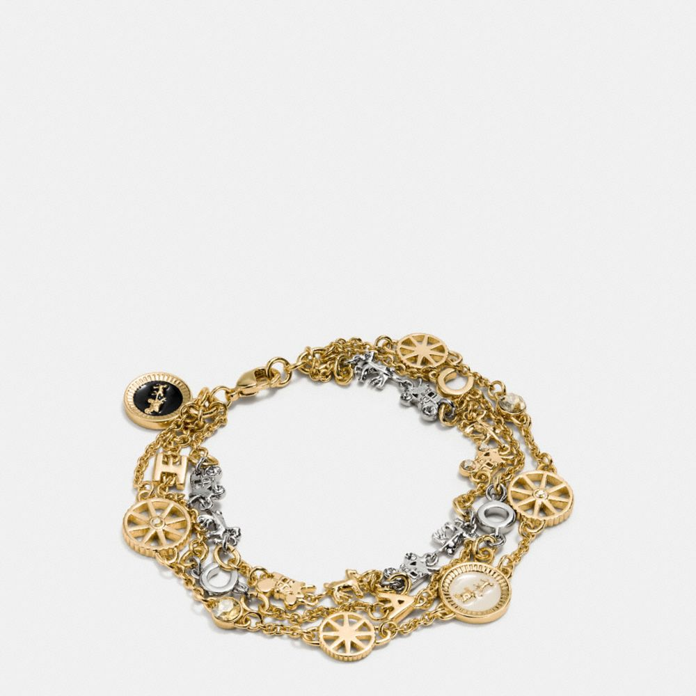 Coach Pave Horse and Carriage Coin Strand Bracelet