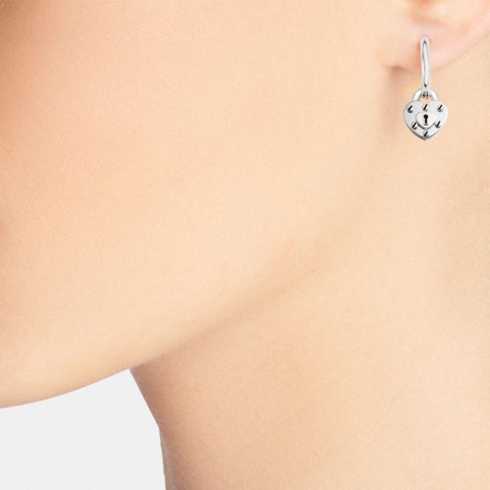 Sterling Silver Heart Lock Hoop Earrings - Alternate View A1
