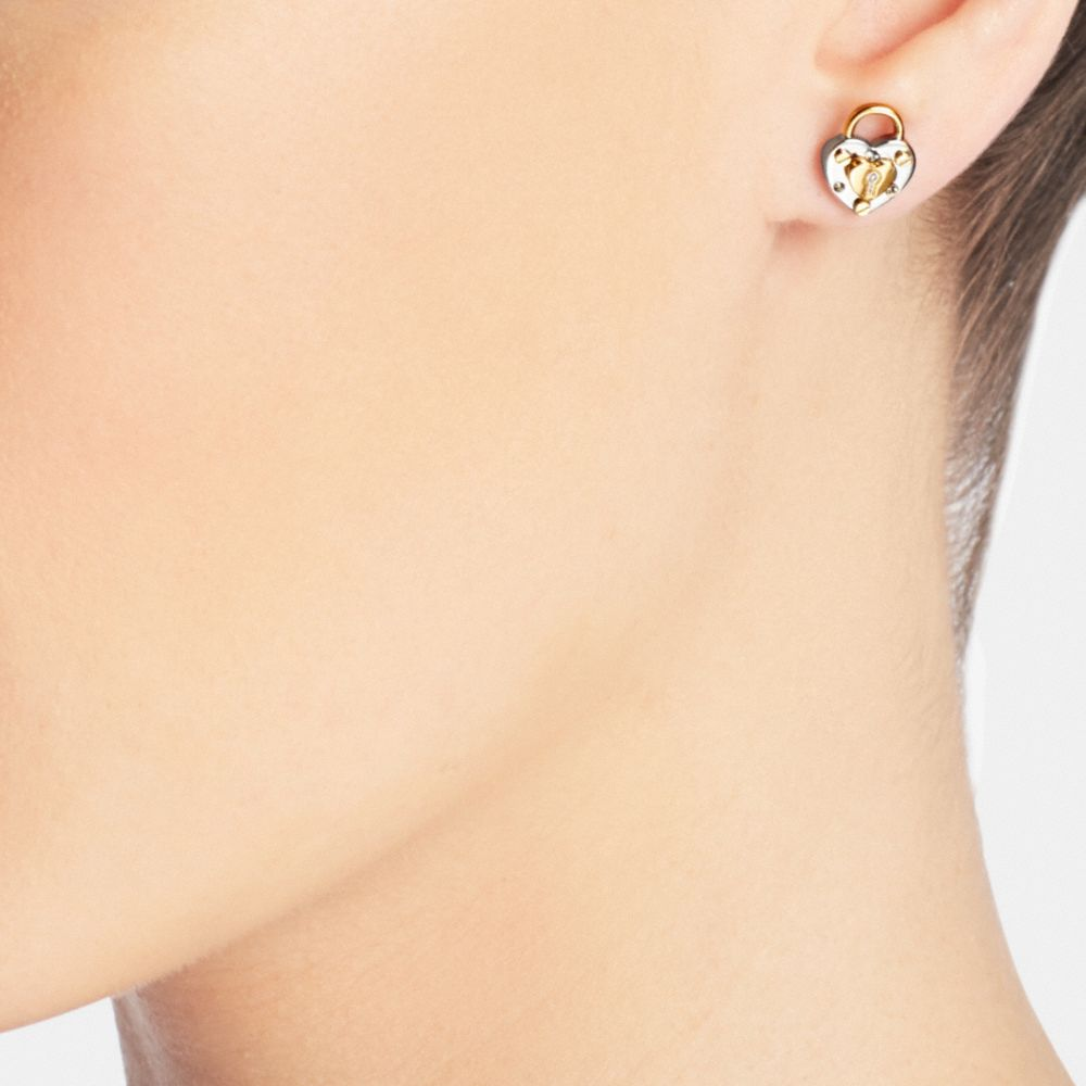 Padlock Heart Stud Earrings - Alternate View A1