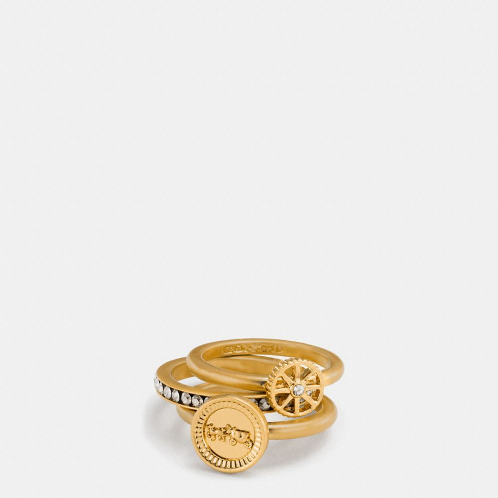 Coach Pave Horse and Carriage Coin Ring Set