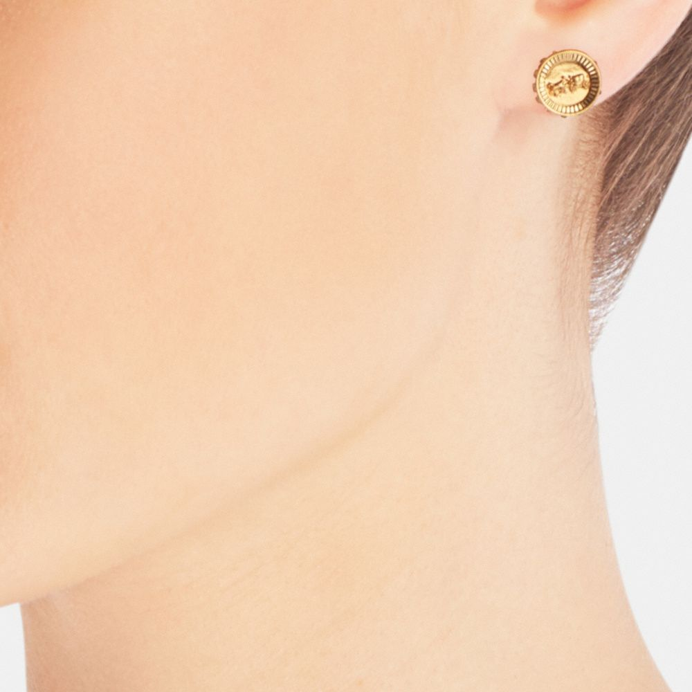 PAVE HORSE AND CARRIAGE COIN STUD EARRINGS - Alternate View A1