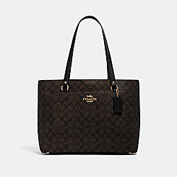 ADDISON TOTE IN SIGNATURE CANVAS - IM/BROWN BLACK - COACH 91017