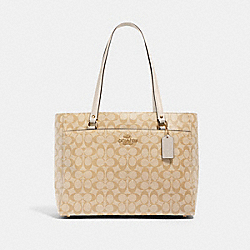 ADDISON TOTE IN SIGNATURE CANVAS - IM/LIGHT KHAKI CHALK - COACH 91017