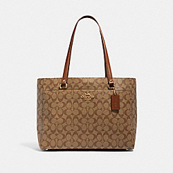 ADDISON TOTE IN SIGNATURE CANVAS - IM/KHAKI SADDLE 2 - COACH 91017