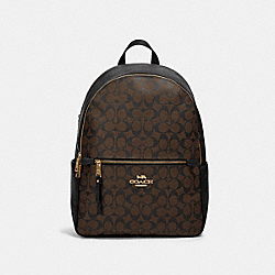 ADDISON BACKPACK IN SIGNATURE CANVAS - IM/BROWN BLACK - COACH 91018