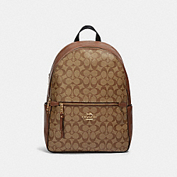 ADDISON BACKPACK IN SIGNATURE CANVAS - IM/KHAKI SADDLE 2 - COACH 91018