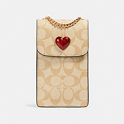 NORTH/SOUTH CROSSBODY IN SIGNATURE CANVAS WITH HEART - IM/LIGHT KHAKI MULTI - COACH 91043