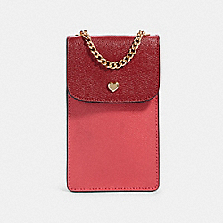 NORTH/SOUTH CROSSBODY IN COLORBLOCK - IM/DEEP SCARLET MULTI - COACH 91044