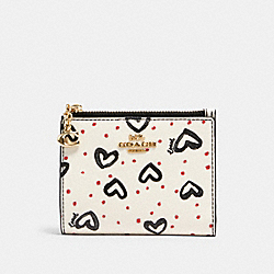 SNAP CARD CASE WITH CRAYON HEARTS PRINT - IM/CHALK PINK MULTI/BLACK - COACH 91058