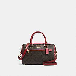 ROWAN SATCHEL IN BLOCKED SIGNATURE CANVAS - IM/BROWN MULTI - COACH 91071