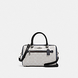 ROWAN SATCHEL IN BLOCKED SIGNATURE CANVAS - SV/CHALK MULTI - COACH 91071