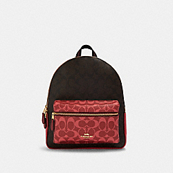 MEDIUM CHARLIE BACKPACK IN BLOCKED SIGNATURE CANVAS - IM/BROWN MULTI - COACH 91074