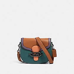 JADE SADDLE BAG IN COLORBLOCK - QB/DARK TURQUOISE MULTI - COACH 91084