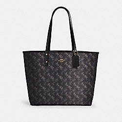 REVERSIBLE CITY TOTE WITH HORSE AND CARRIAGE PRINT - IM/BLACK GREY MULTI - COACH 91107