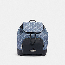 JES BACKPACK WITH HORSE AND CARRIAGE PRINT - SV/INDIGO PALE BLUE MULTI - COACH 91110