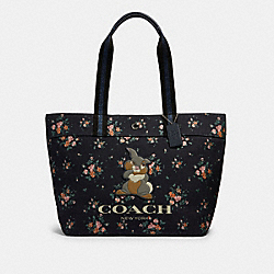 DISNEY X COACH TOTE WITH ROSE BOUQUET PRINT AND THUMPER - SV/MIDNIGHT MULTI - COACH 91116