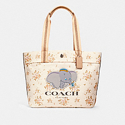 DISNEY X COACH TOTE WITH ROSE BOUQUET PRINT AND DUMBO - SV/CHALK MULTI - COACH 91119