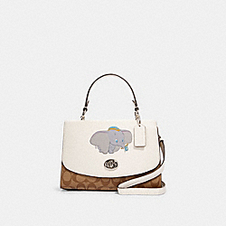 DISNEY X COACH TILLY TOP HANDLE SATCHEL IN SIGNATURE CANVAS WITH DUMBO - SV/CHALK KHAKI MULTI - COACH 91120