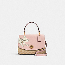 DISNEY X COACH TILLY TOP HANDLE SATCHEL IN SIGNATURE CANVAS WITH DALMATIAN - IM/BLOSSOM/LIGHT KHAKI MULTI - COACH 91128