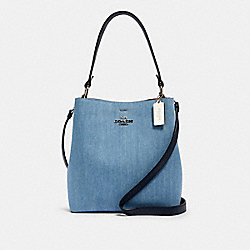 TOWN BUCKET BAG - SV/DENIM BRIGHT CORAL - COACH 91136