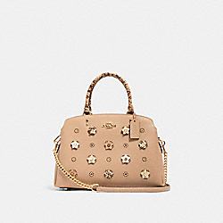 LILLIE CARRYALL WITH DAISY APPLIQUE - IM/TAUPE MULTI - COACH 91141