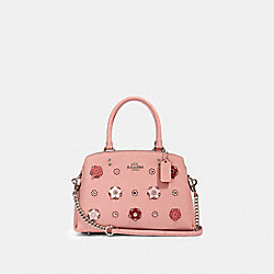 MINI LILLIE CARRYALL WITH DAISY APPLIQUE - SV/LIGHT BLUSH MULTI - COACH 91142