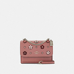 KLARE CROSSBODY WITH DAISY APPLIQUE - SV/LIGHT BLUSH MULTI - COACH 91143