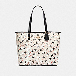 REVERSIBLE CITY TOTE WITH CRAYON HEARTS PRINT - IM/CHALK PINK MULTI/BLACK - COACH 91151