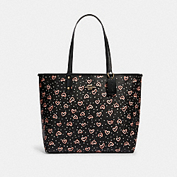 REVERSIBLE CITY TOTE WITH CRAYON HEARTS PRINT - SV/BLACK PINK MULTI/LIT BLUSH - COACH 91151
