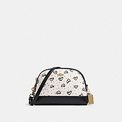 DOME CROSSBODY WITH CRAYON HEARTS PRINT - IM/CHALK PINK MUTLI - COACH 91152