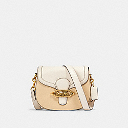 JADE SADDLE BAG IN COLORBLOCK - OL/CREAM MULTI - COACH 91164