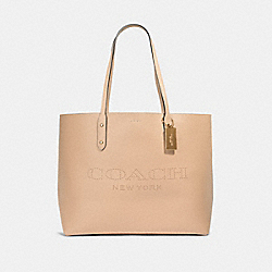 TOWN TOTE WITH COACH PRINT - IM/TAUPE POPPY - COACH 91168