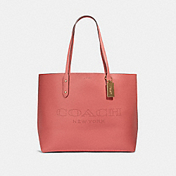 TOWN TOTE WITH COACH PRINT - IM/BRIGHT CORAL WINE - COACH 91168