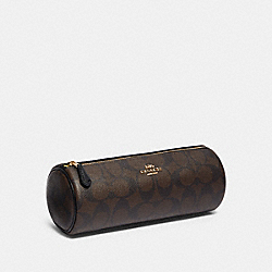 MAKEUP BRUSH HOLDER IN SIGNATURE CANVAS - IM/BROWN BLACK - COACH 91177