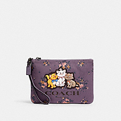 DISNEY X COACH GALLERY POUCH WITH ROSE BOUQUET PRINT AND ARISTOCATS - QB/DUSTY LAVENDER MULTI - COACH 91184