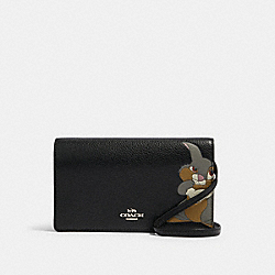 DISNEY X COACH HAYDEN FOLDOVER CROSSBODY CLUTCH WITH THUMPER - SV/BLACK - COACH 91188