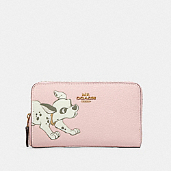 DISNEY X COACH MEDIUM ZIP AROUND WALLET WITH DALMATIAN - IM/BLOSSOM - COACH 91191